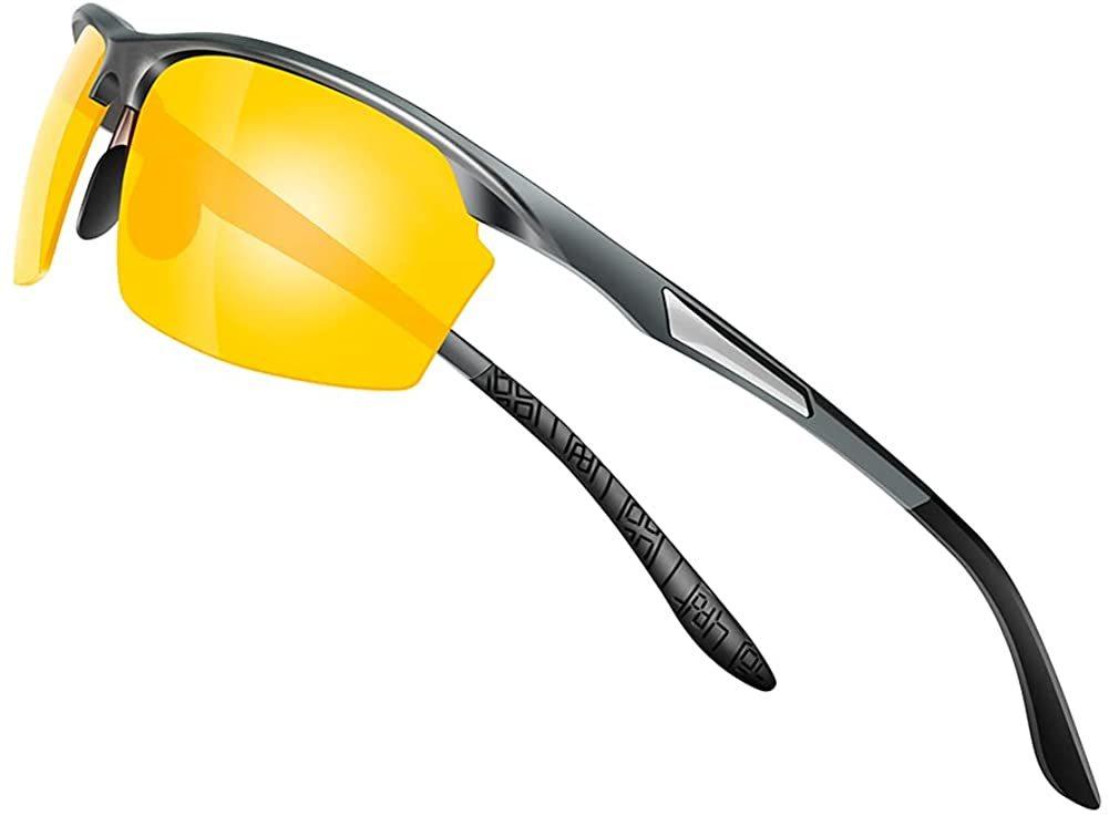 【送料無料】Glazata 偏光スポーツサングラス 偏光グラス 昼夜兼用・超軽量メタル UV400 紫外線カット ランニング 男女兼用 イエロー 黄
