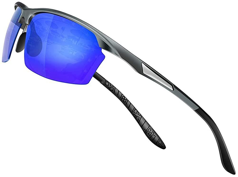 【送料無料】Glazata 偏光スポーツサングラス 偏光グラス 昼夜兼用・超軽量メタル UV400 紫外線カット 運転 男女兼用 マリンブルー 青
