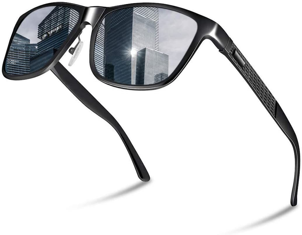 【送料無料】Glazata 偏光サングラス UV400 紫外線カット メタルフレームスポーツサングラス 野球 ゴルフ 運転 男女兼用 黒 ブラック