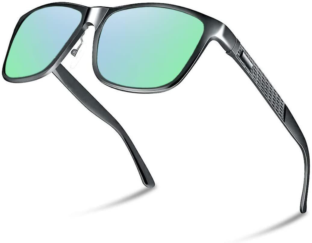 【送料無料】Glazata 偏光サングラス UV400 紫外線カット メタルフレームスポーツサングラス ゴルフ 野球 運転 男女兼用 グリーン 緑