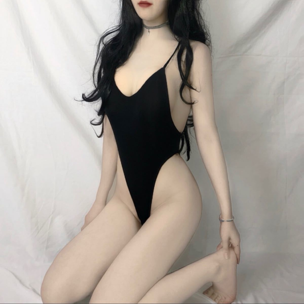 エロカッコいい ハイレグレオタードコスプレ  オープンクロッチ sexyランジェリー セクシー 美尻 背中空き 誘惑過激な 黒透明