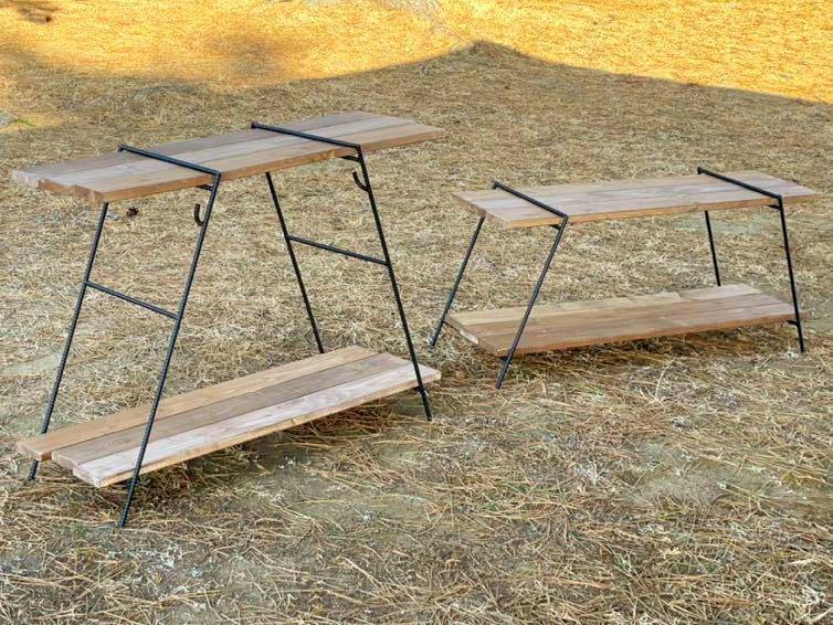 アイアンラック フック棒付 4脚 保護キャップ付 鉄脚のみ アイアンレグ アウトドアテーブル