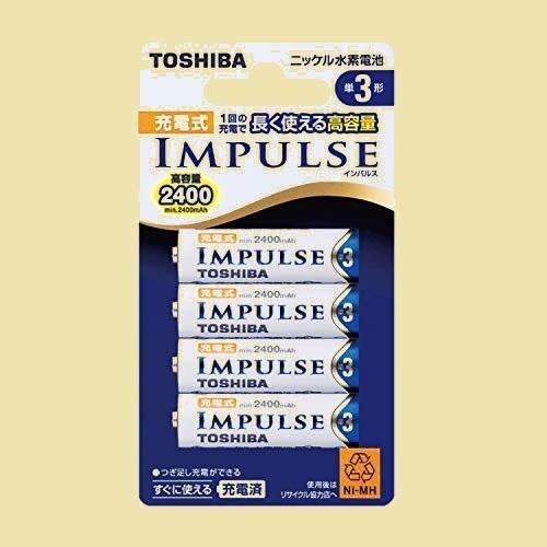 大人気 新品 未使用 ニッケル水素電池 TOSHIBA 1-OE TNH-3A 4P 充電式IMPULSE 高容量タイプ 単3形充電池(min.2,400mAh) 4本_画像1