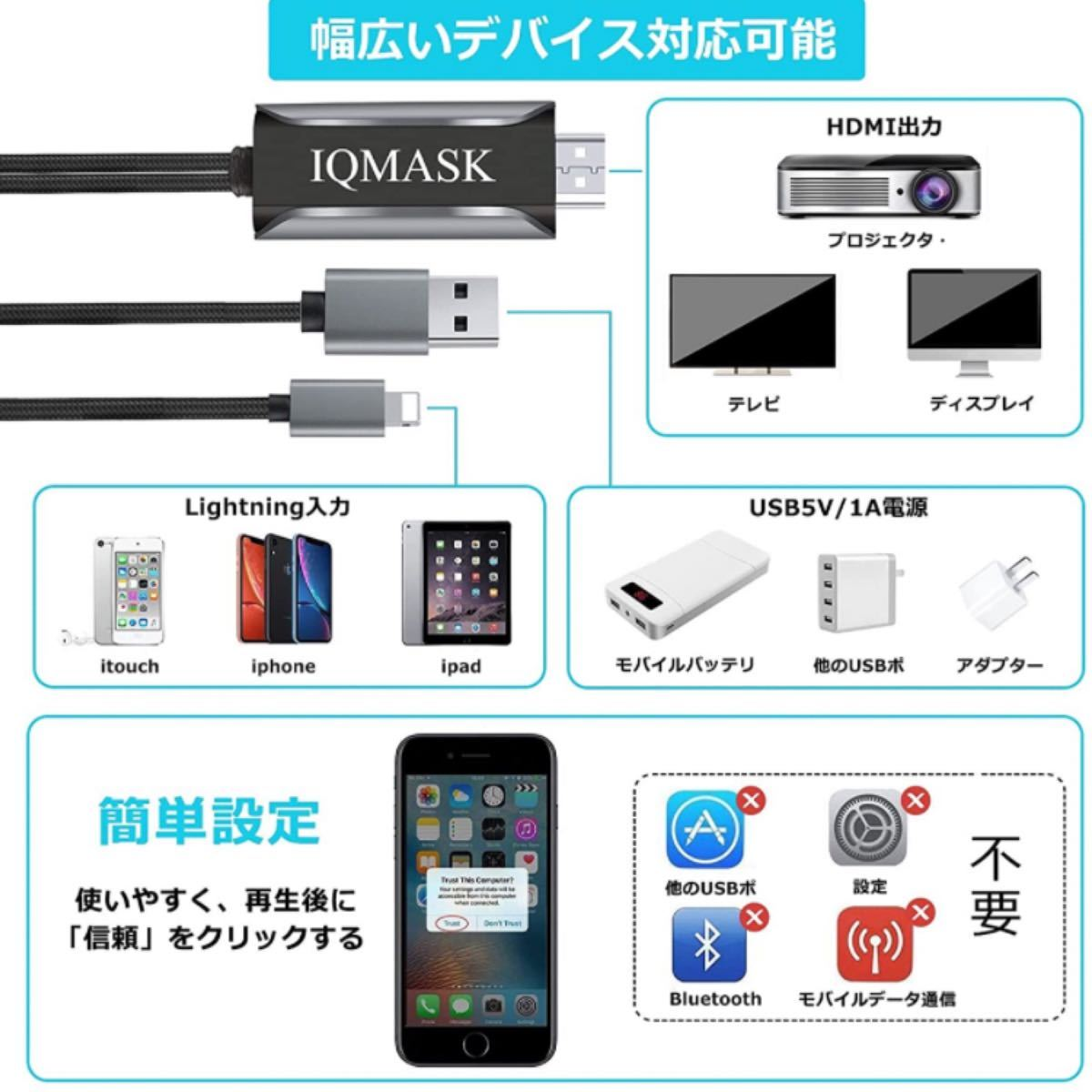 HDMI変換ケーブル iPhone Lightning