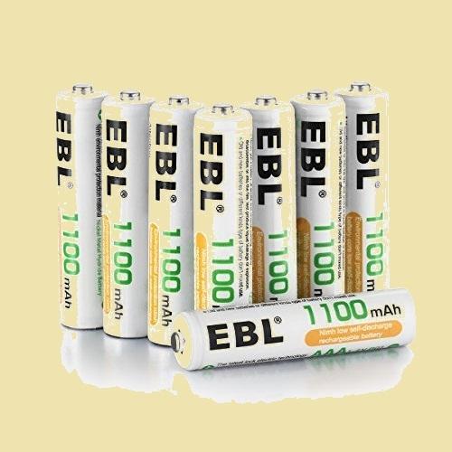 未使用 新品 単4形充電池 EBL K-PU ケ-ス2個付き 単四充電池 充電式ニッケル水素電池 高容量1100mAh 8本入り 約1200回使用可能_画像1
