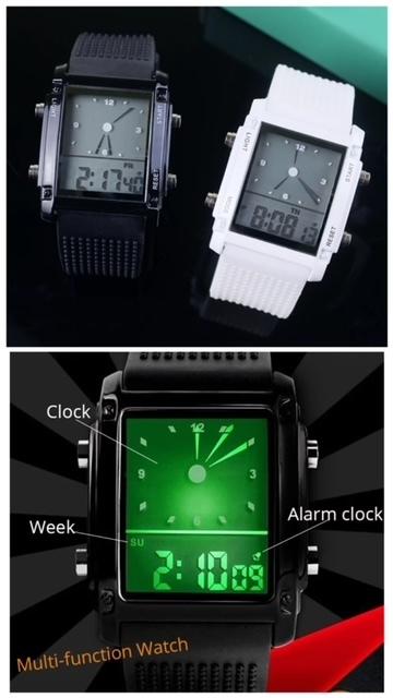 スポーツ腕時計 腕時計 時計 アナデジ式 LED デジタル ミリタリー 自転車 スポーツ アウトドア キャンプ ランニング ブラック 22_画像8