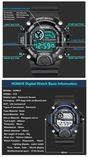 スポーツ腕時計 腕時計 時計 デジタル式 LED デジタル腕時計 デジタル 自転車 スポーツ アウトドア キャンプ ブラック  22_画像8