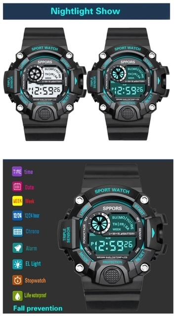 スポーツ腕時計 腕時計 時計 デジタル式 LED デジタル腕時計 デジタル 自転車 スポーツ アウトドア キャンプ ブラック ブルー 21_画像7