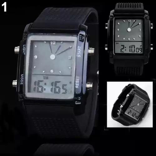 スポーツ腕時計 腕時計 時計 アナデジ式 LED デジタル ミリタリー 自転車 スポーツ アウトドア キャンプ ランニング ブラック 22_画像2