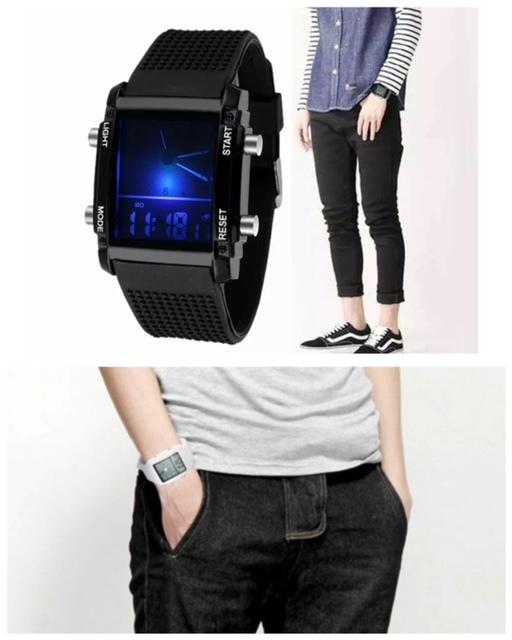 スポーツ腕時計 腕時計 時計 アナデジ式 LED デジタル ミリタリー 自転車 スポーツ アウトドア キャンプ ランニング ブラック 22_画像9