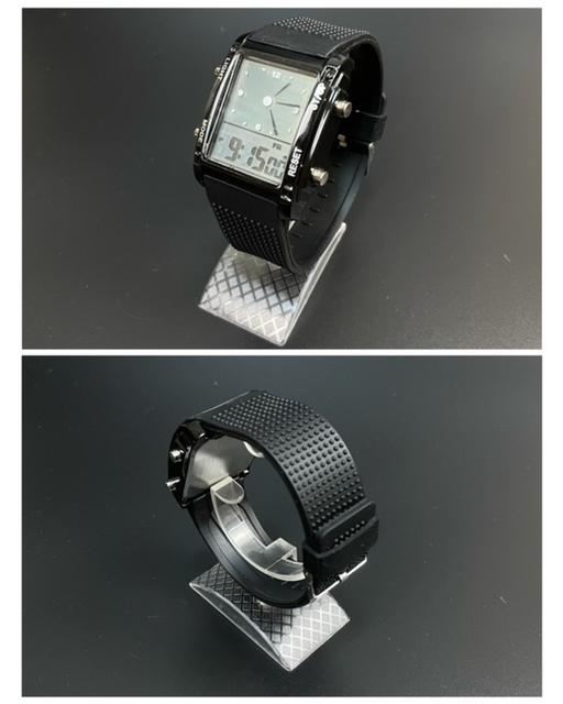 スポーツ腕時計 腕時計 時計 アナデジ式 LED デジタル ミリタリー 自転車 スポーツ アウトドア キャンプ ランニング ブラック 22_画像6