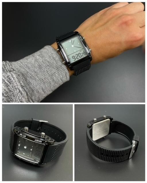 スポーツ腕時計 腕時計 時計 アナデジ式 LED デジタル ミリタリー 自転車 スポーツ アウトドア キャンプ ランニング ブラック 22_画像5