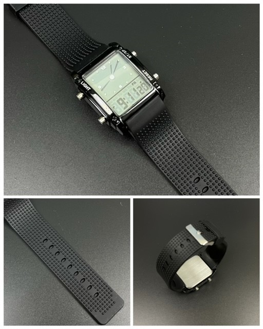 スポーツ腕時計 腕時計 時計 アナデジ式 LED デジタル ミリタリー 自転車 スポーツ アウトドア キャンプ ランニング ブラック 22_画像7
