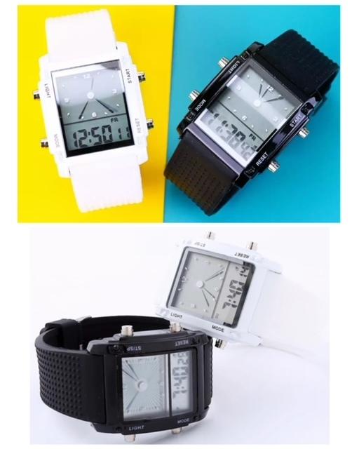 スポーツ腕時計 腕時計 時計 アナデジ式 LED デジタル ミリタリー 自転車 スポーツ アウトドア キャンプ ランニング ブラック 22_画像4