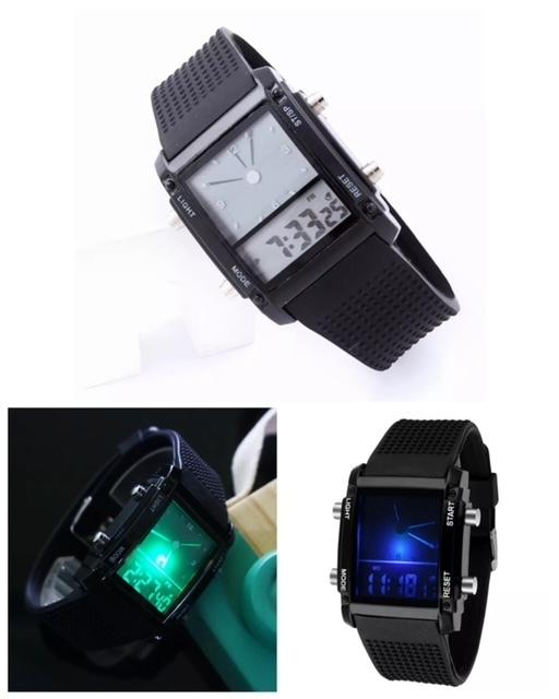 スポーツ腕時計 腕時計 時計 アナデジ式 LED デジタル ミリタリー 自転車 スポーツ アウトドア キャンプ ランニング ブラック 22_画像3