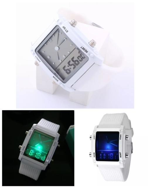 スポーツ腕時計 腕時計 時計 アナデジ式 LED デジタル ミリタリー 自転車 スポーツ アウトドア キャンプ ランニング ホワイト 21_画像2