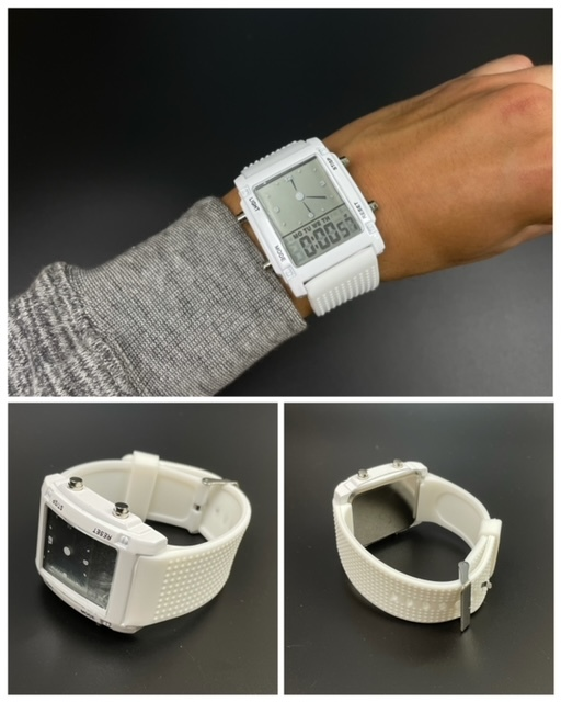 スポーツ腕時計 腕時計 時計 アナデジ式 LED デジタル ミリタリー 自転車 スポーツ アウトドア キャンプ ランニング ホワイト 21_画像6