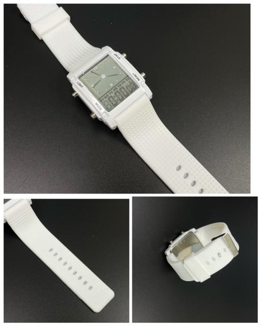 スポーツ腕時計 腕時計 時計 アナデジ式 LED デジタル ミリタリー 自転車 スポーツ アウトドア キャンプ ランニング ホワイト 22_画像8