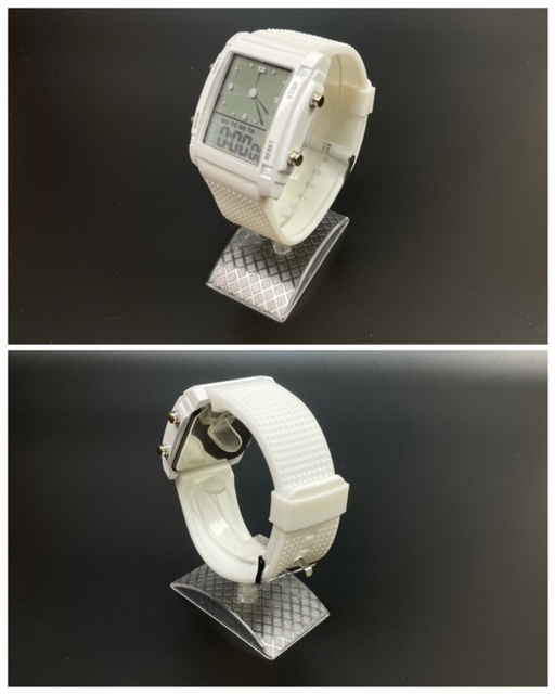 スポーツ腕時計 腕時計 時計 アナデジ式 LED デジタル ミリタリー 自転車 スポーツ アウトドア キャンプ ランニング ホワイト 22_画像7