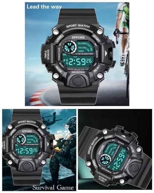 スポーツ腕時計 腕時計 時計 デジタル式 LED デジタル腕時計 デジタル 自転車 スポーツ アウトドア キャンプ ブラック  22_画像2
