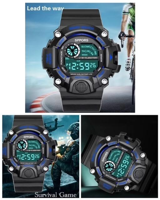 スポーツ腕時計 腕時計 時計 デジタル式 LED デジタル腕時計 デジタル 自転車 スポーツ アウトドア キャンプ ブラック ブルー 21_画像2