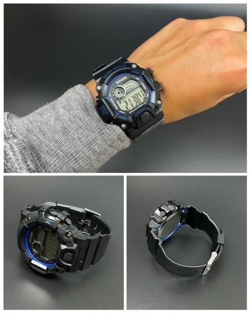 スポーツ腕時計 腕時計 時計 デジタル式 LED デジタル腕時計 デジタル 自転車 スポーツ アウトドア キャンプ ブラック ブルー 21_画像3