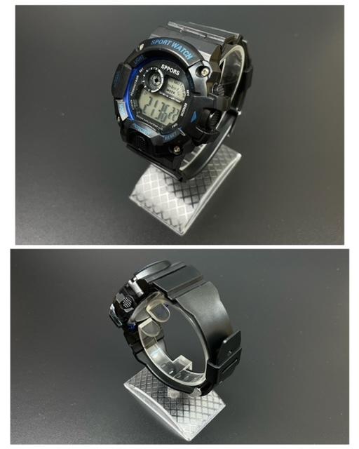 スポーツ腕時計 腕時計 時計 デジタル式 LED デジタル腕時計 デジタル 自転車 スポーツ アウトドア キャンプ ブラック ブルー 21_画像4