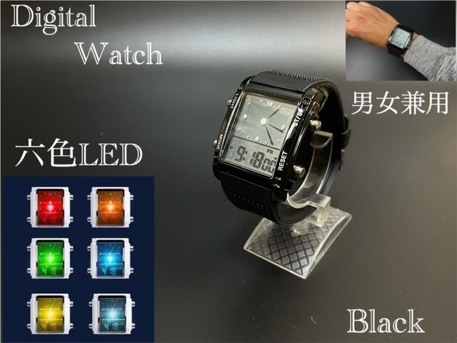 スポーツ腕時計 腕時計 時計 アナデジ式 LED デジタル ミリタリー 自転車 スポーツ アウトドア キャンプ ランニング ブラック 22_画像1
