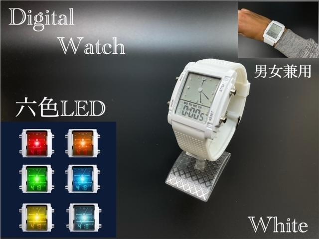 スポーツ腕時計 腕時計 時計 アナデジ式 LED デジタル ミリタリー 自転車 スポーツ アウトドア キャンプ ランニング ホワイト 22_画像1