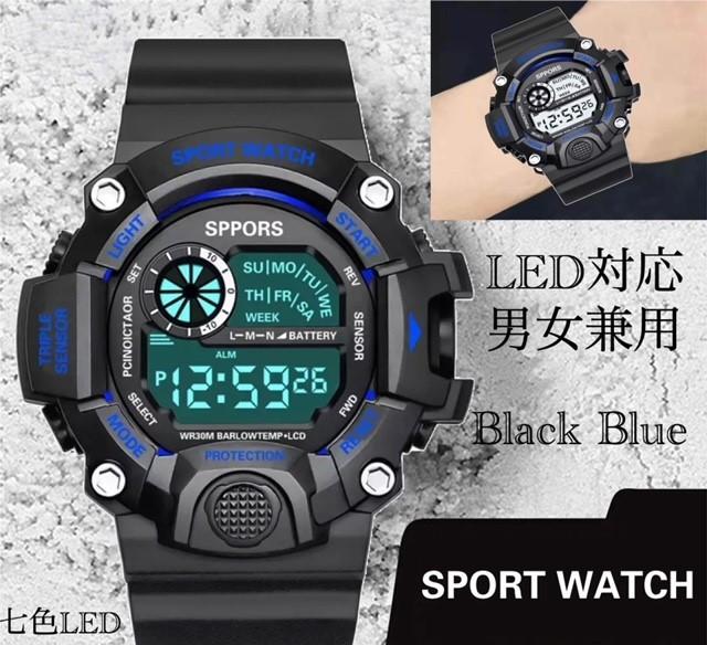 スポーツ腕時計 腕時計 時計 デジタル式 LED デジタル腕時計 デジタル 自転車 スポーツ アウトドア キャンプ ブラック ブルー 21_画像1