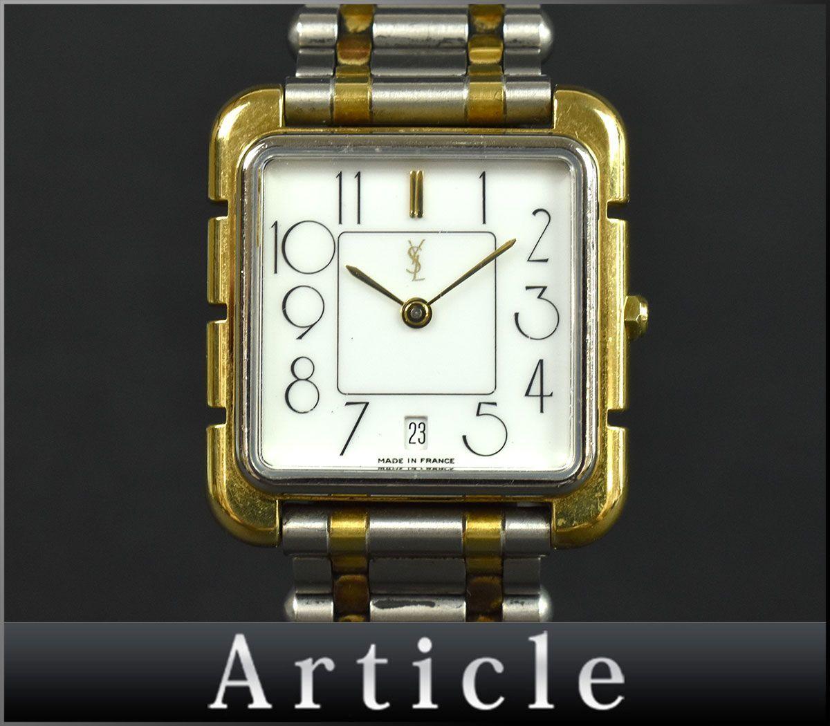 103359■電池交換済 Yves Saint Laurent イヴサンローラン メンズウォッチ 腕時計 クォー