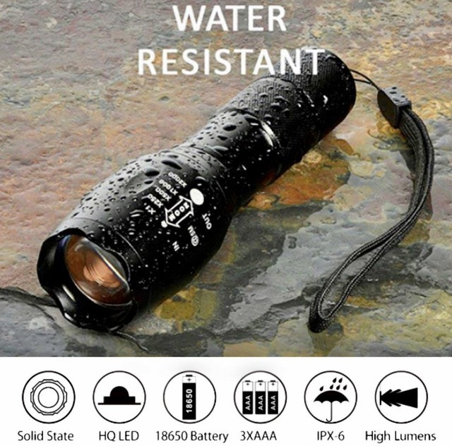 懐中電灯★USBケーブル付き★ led USB充電式 強力 防水 携帯電話充電