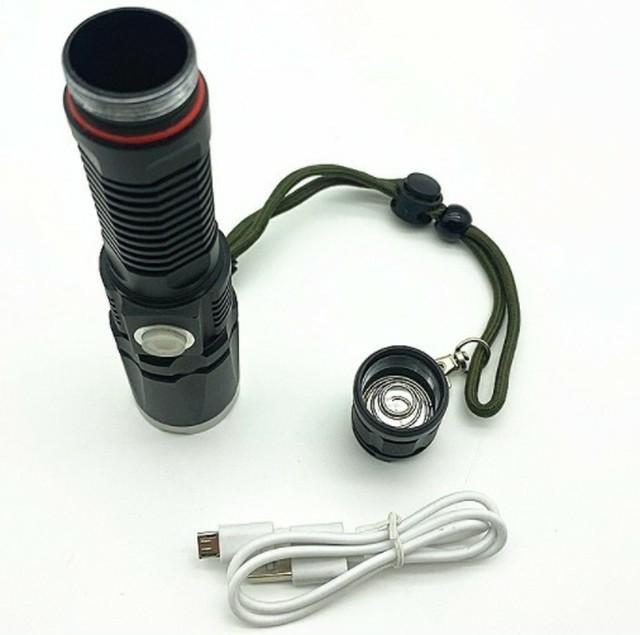 USBケーブルとリチウム電池付き☆懐中電灯 led 強力USB充電式 防水