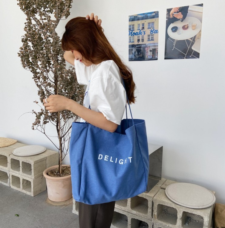 バッグ ブルー  トートバッグ 通学 A4 エコバッグ マザーバッグ 韓国3