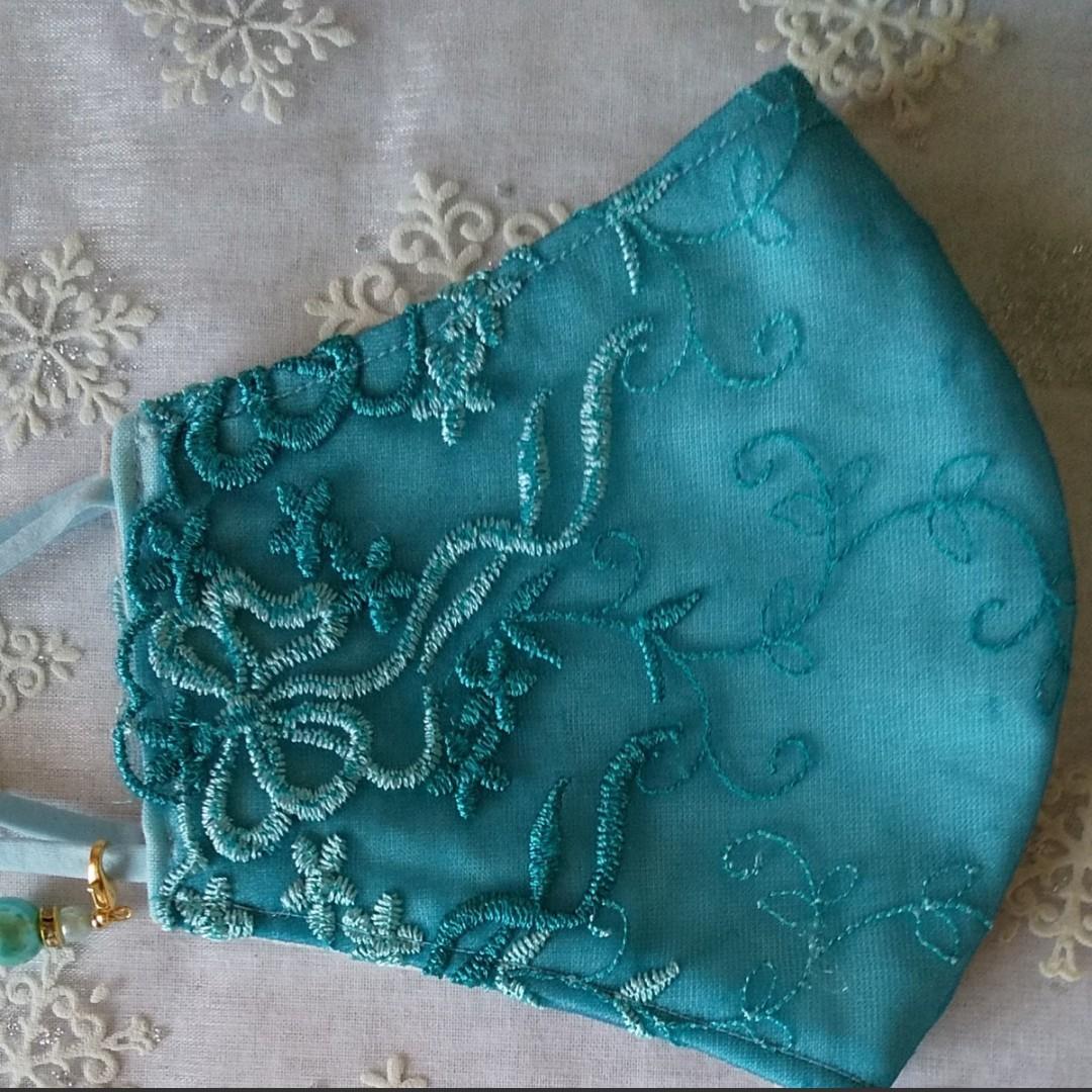 立体インナーハンドメイド、綿ガー、ゼチュール刺繍レース(水色×ブルー系リボン刺繍レース)(普通サイズ)アジャスター付、チャーム付