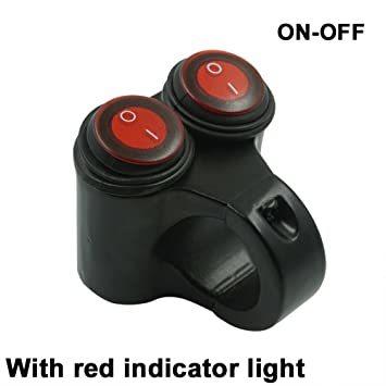 ヘッドライトフォグスポットライトON/OFFスイッチ 防水 12V 22mmハンドルバーオートバイ用 赤色インジケータライト_画像2