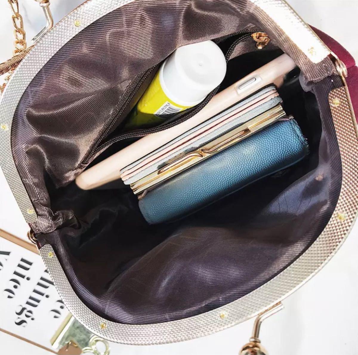 バッグ ショルダーバッグ レディース ガマ口 レザー がま口 ハンドバッグ ショルダーバッグ 韓国 チェーンショルダーバッグ