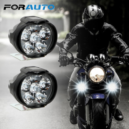 【在庫わずか】1 ペアオートバイヘッドライト 6500 18k ホワイト超高輝度 6 LED 作業スポットライトバイクフォグランプ_画像1