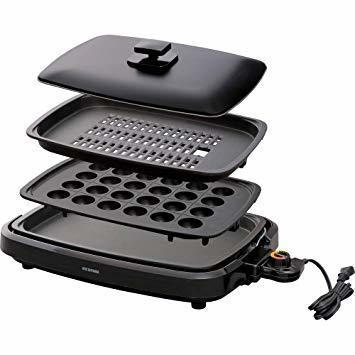 新品新品ブラック 3WAY(たこ焼きプレート付き) アイリスオーヤマ ホットプレート たこ焼き 焼肉 平面 プレGM17_画像1