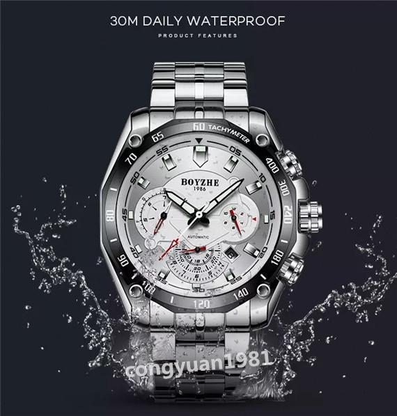 ★★メンズ高級腕時計 機械式 自動巻き 44mm カレンダー 曜日表示 多機能 紳士ウォッチ 夜光 防水 おしゃれ シルバー_画像6