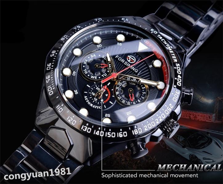 ★メンズ腕時計 43mm 機械式 自動巻き カレンダー 曜日表示 24H 紳士ウォッチ 夜光 防水 ステンレス カジュアル B/G_画像4
