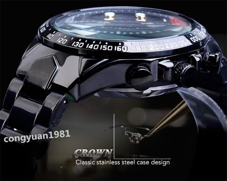 ★メンズ腕時計 43mm 機械式 自動巻き カレンダー 曜日表示 24H 紳士ウォッチ 夜光 防水 ステンレス カジュアル B/G_画像5