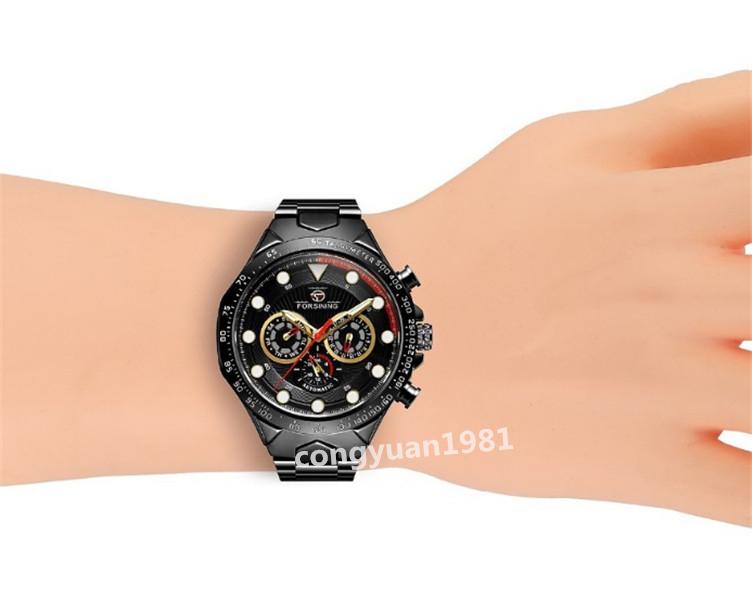 ★メンズ腕時計 43mm 機械式 自動巻き カレンダー 曜日表示 24H 紳士ウォッチ 夜光 防水 ステンレス カジュアル B/G_画像9