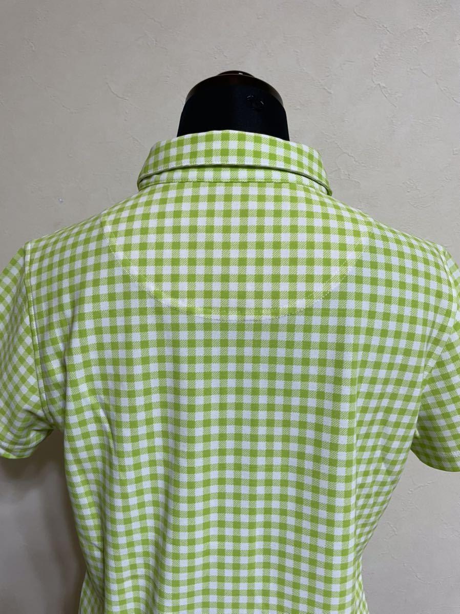 【美品】 le coq sportif GOLF ルコック レディース ゴルフ ウェア ギンガムチェック ドライポロシャツ サイズL 半袖 黄緑 白 デサント_画像5