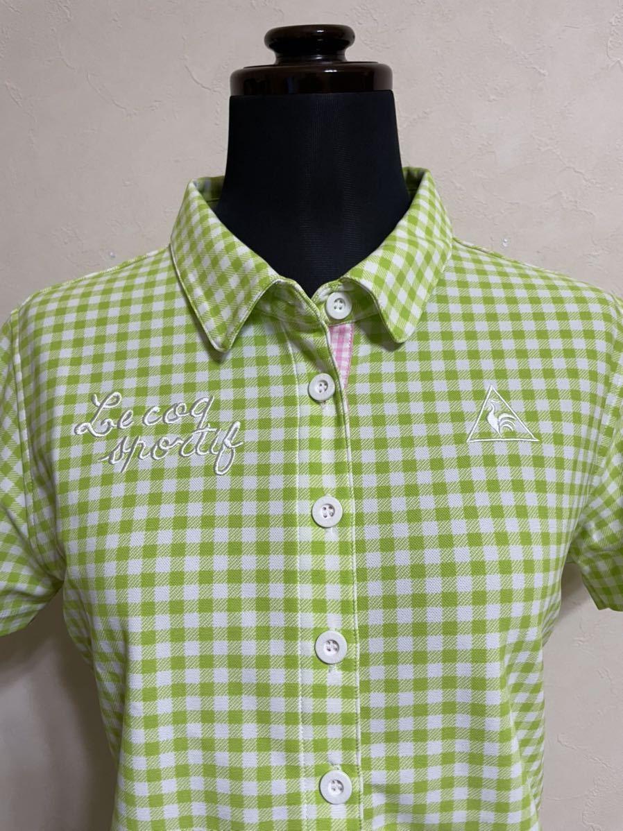 【美品】 le coq sportif GOLF ルコック レディース ゴルフ ウェア ギンガムチェック ドライポロシャツ サイズL 半袖 黄緑 白 デサント_画像4