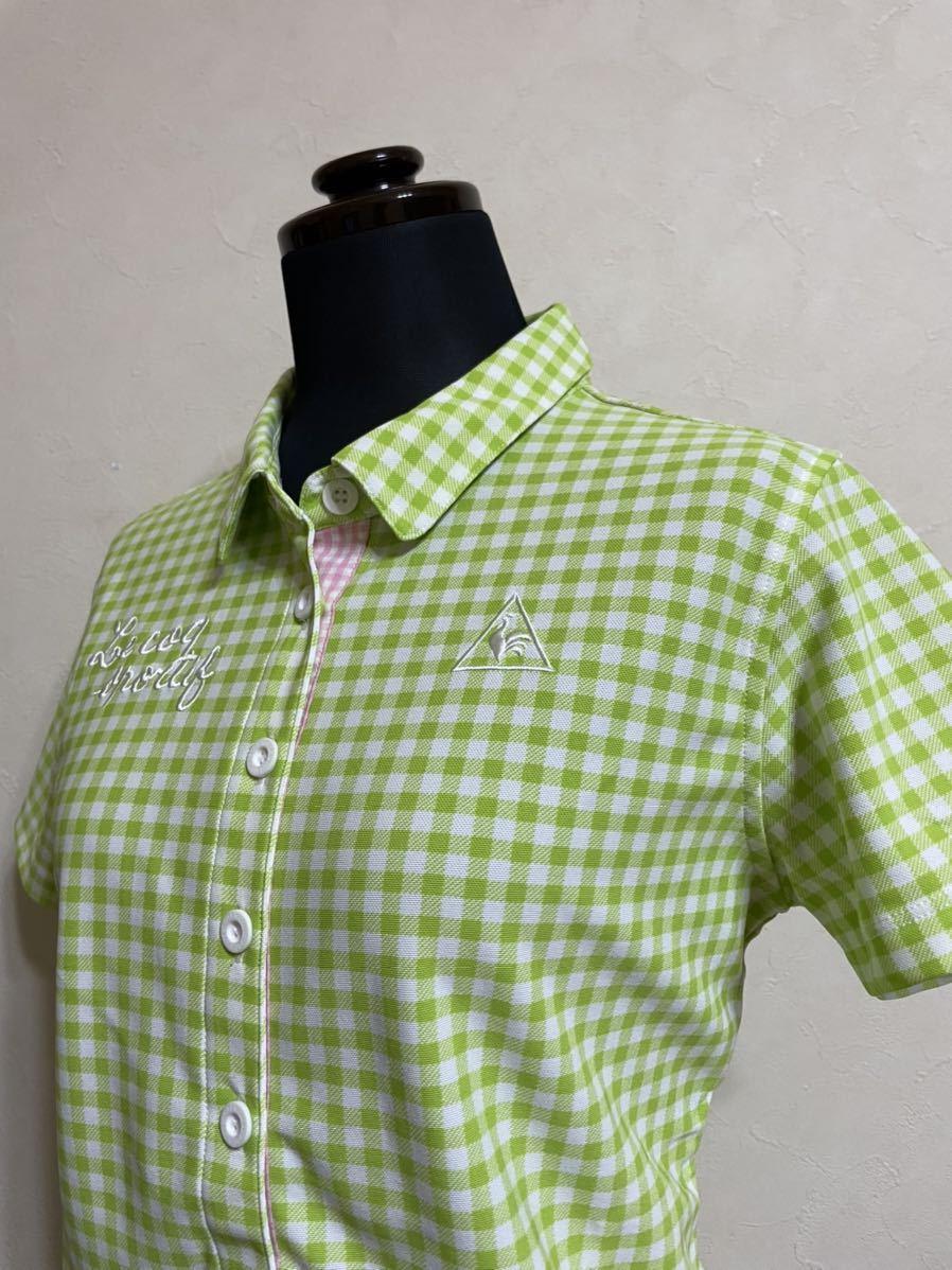 【美品】 le coq sportif GOLF ルコック レディース ゴルフ ウェア ギンガムチェック ドライポロシャツ サイズL 半袖 黄緑 白 デサント_画像7