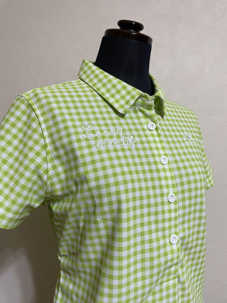 【美品】 le coq sportif GOLF ルコック レディース ゴルフ ウェア ギンガムチェック ドライポロシャツ サイズL 半袖 黄緑 白 デサント_画像9
