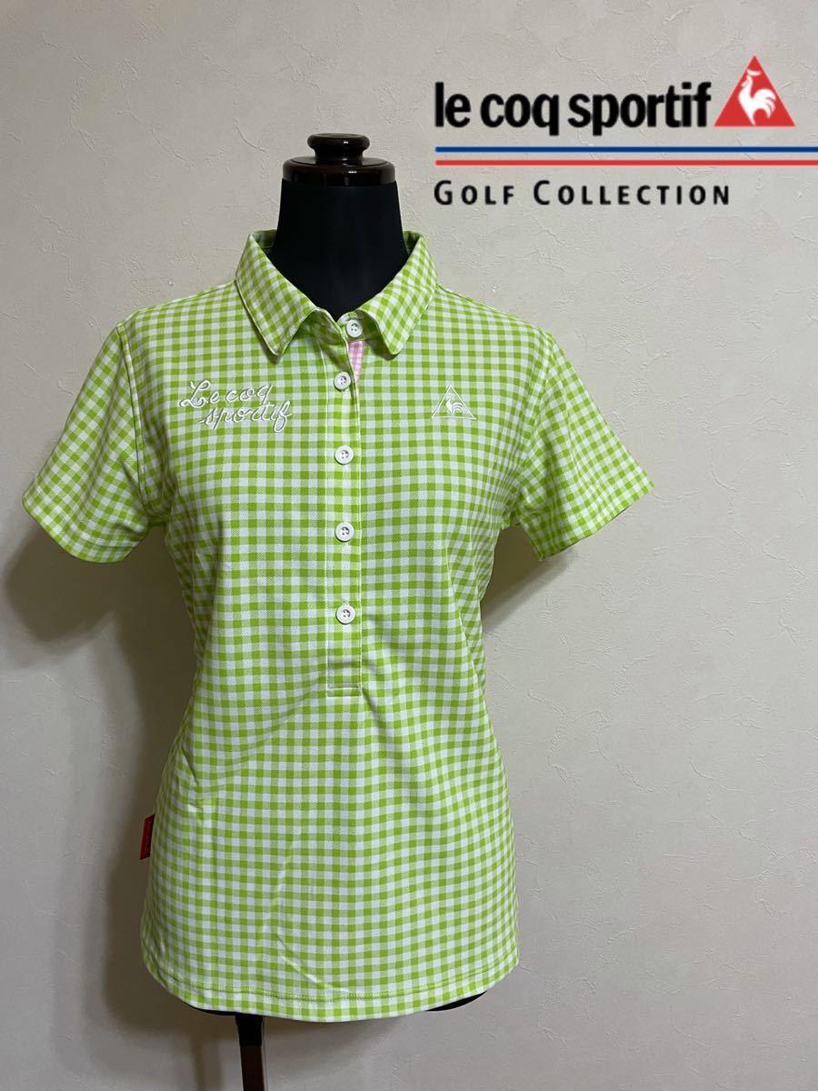 【美品】 le coq sportif GOLF ルコック レディース ゴルフ ウェア ギンガムチェック ドライポロシャツ サイズL 半袖 黄緑 白 デサント_画像1
