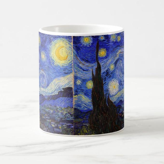 ゴッホ『 星月夜 』のマグカップ_この全面プリントタイプも選べます