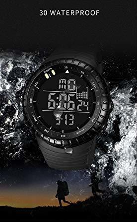 新品ブラック Senorsスポーツ腕時計 メンズデジタル時計電子LEDファッションアウトドアカジュアル防水腕時計C736_画像8